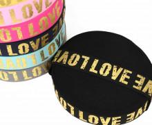 1m Gummiband - Elastisch - Love Golddruck - 40mm - Schwarz