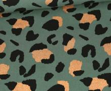 Canvas - Baumwolle - Leo Animal Print - Moosgrün - Glitzer