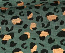 Musselin - Muslin - Leo Animal Print - Double Gauze - Moosgrün - Glitzer