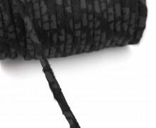 1 Meter Zierkordel - Dekoschnur - Kunstfell - 6mm - Leomuster - Schwarz