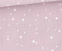 Musselin - Muslin - Triple Gauze - Punkte Groß & Klein - Schnuffeltuch - Windeltuch - Flieder Pastell