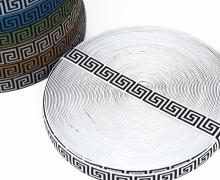 1 Meter Gummiband - 25mm - Indianisches Muster - Weiß