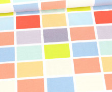 Baumwollstoff - Twill - Bunte Rechtecke - Grafisch - Tillisy - Weiß