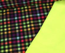 Softshell - Fleece - Neon - Kariert - Neongelb/Lila/Rot