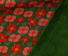 Alpenfleece - Kuschelstoff - Blumenwiese - Grasgrün