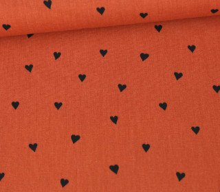 Baumwollstoff - You´re Sweetheart - Poppy - Rostorange/Schwarz