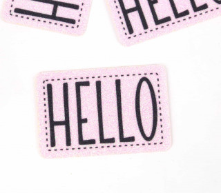 1 XXL GLITZERLABEL – Rosa – HELLO