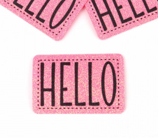 1 XXL GLITZERLABEL – Pink – HELLO
