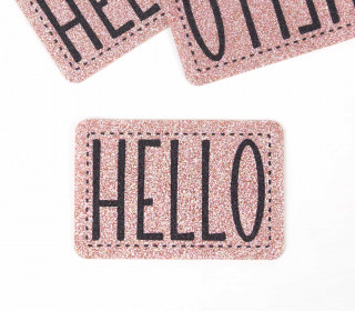 1 XXL GLITZERLABEL – Rosé – HELLO