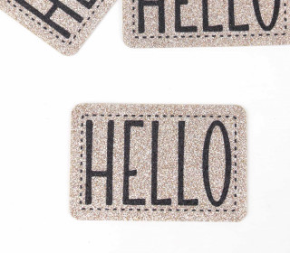 1 XXL GLITZERLABEL – Bronze – HELLO
