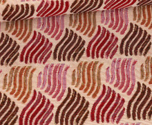 Gobelinstoff Premium - Rote Wellen - Creme