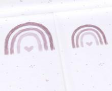 Jersey - Rainbow Love - Regenbogen - Paneel - Dusty Rose - Bio-Qualität - Stickherz - abby and me