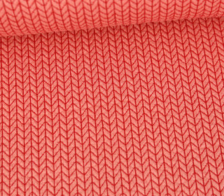 Bio-Elastic Minijacquard Jersey - 3D - Big Knit - Life Loves You - Hamburger Liebe - Rot