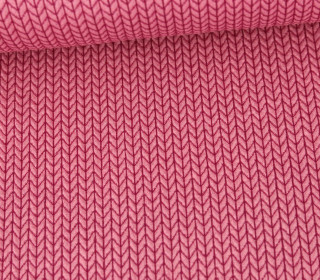 Bio-Elastic Minijacquard Jersey - 3D - Big Knit - Life Loves You - Hamburger Liebe - Rosa