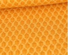 Bio-Elastic Minijacquard Jersey - 3D - Honeycomp - Life Loves You - Hamburger Liebe - Maisgelb