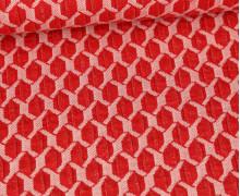 Bio-Elastic Minijacquard Jersey - 3D - Honeycomp - Life Loves You - Hamburger Liebe - Rot