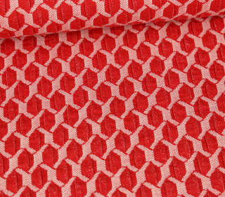 Bio-Elastic Minijacquard Jersey - 3D - Honeycomp - Life Loves You - Hamburger Liebe - Rot