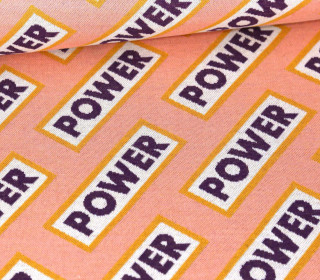 Bio-Jacquard - 4Farb Spezial Jacquard Jersey - Power - Life Loves You - Lachsrosa - Hamburger Liebe