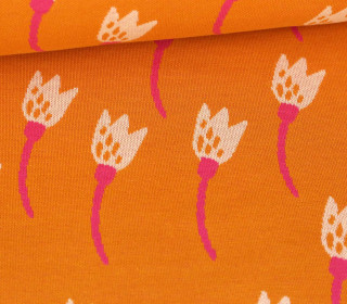 Bio-Jacquard - 3Farb Spezial Jacquard Jersey - Flower Bed - Life Loves You - Orangegelb - Hamburger Liebe