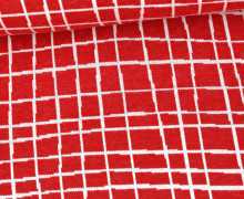 Bio-Jacquard - 2Farb Spezial Jacquard Jersey - Grid - Life Loves You - Rot - Hamburger Liebe