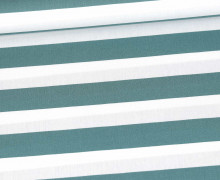 Baumwollstoff - Stripe - Poppy - Alttürkis/Weiß