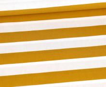 Baumwollstoff - Stripe - Poppy - Senfgelb/Weiß