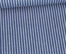 Baumwolle - Webware - Weiße Streifen - Jeansoptik - Jeansblau Dunkel