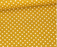 Baumwolle - Webware - Poplin - Weiße Mini Punkte - White Mini Dots - Senfgelb