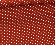 Baumwolle - Webware - Poplin - Weiße Mini Punkte - White Mini Dots - Rostorange