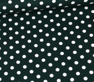Baumwolle - Webware - Poplin - Weiße Punkte - White Dots - Tannengrün