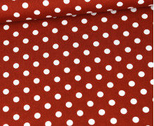 Baumwolle - Webware - Poplin - Weiße Punkte - White Dots - Rostorange