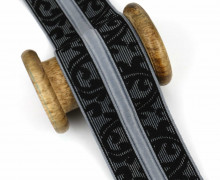 1 Meter Gummiband mit Kordelzug - 50mm - Hellgrau/Schwarz