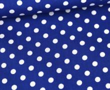 Baumwolle - Webware - Poplin - Weiße Punkte - White Dots - Royalblau