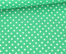 Baumwolle - Webware - Poplin - Weiße Mini Punkte - White Mini Dots - Grasgrün