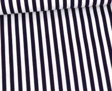 Baumwolle - Webware - Poplin - Streifen - 5mm - Gestreift - Weiß/Lila Dunkel