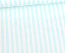 Baumwolle - Webware - Poplin - Streifen - 5mm - Gestreift - Weiß/Mint