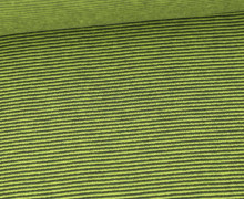 Glattes Bündchen - Streifen - Stripes - 1mm - Schlauchware - Gelbgrün/Grauoliv
