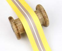 1 Meter Zierband - Dekoband - 40 mm - 2 Streifen - Gelb