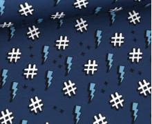 Antimikrobieller Jersey - SHIELD - Behelf-Mund-Nasen-Schutz - - Hamburger Liebe - Hashtag - Jeansblau