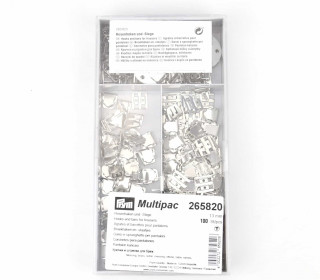 100 Nähfrei Hosenhaken/Stege - Multipac - 13mm - Prym - Silber