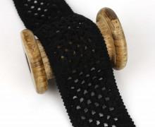 1 Meter Zierband - Dekoband - Einfassband - Elastisch - 45mm - Häkelmuster - Uni - Schwarz