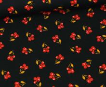 Baumwolle - Webware - Flower - Single Flower - Poppy - Schwarz
