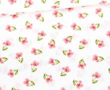Baumwolle - Webware - Flower - Single Flower - Poppy - Weiß