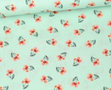Baumwolle - Webware - Flower - Single Flower - Poppy - Mint