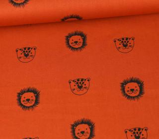 Baumwolle - Webware - Happy Friends - Wildcats - Poppy - Rostorange