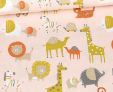Baumwolle - Webware - Safari - Cute Animals - Poppy - Blassrosa