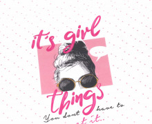 Modal Jersey - Paneel - It's Girl Things - Weiß - abby and me