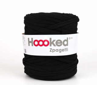 1 Knäuel Zpagetti Garn - Recycelte Fasern - Jersey Band - 120m - Hoooked  - Schwarz