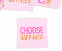 1 KUNSTLEDER LABEL - Bedruckt - Babyrosa - CHOOSE HAPPINESS