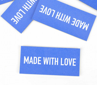 1 KUNSTLEDER LABEL – Bedruckt – Blau – MADE WITH LOVE
